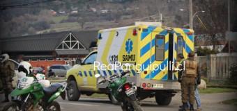 Carabinero resulta lesionado tras caer de su motocicleta