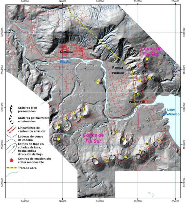 Conos volcánicos del Campo Volcánico Fuy (puntos amarillos)