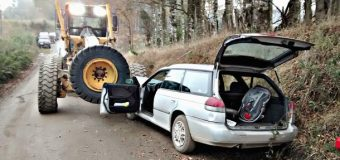 5 lesionados en accidente tras colisión con motoniveladora