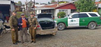 Carabineros en Lanco recupera vehículo con encargo por robo. Detenido registra amplio prontuario