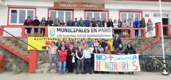 Trabajadores del Municipio en Panguipulli adhieren a Paro Nacional por reajuste salarial