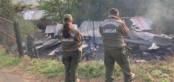 Labocar investiga doble incendio en sector Las Lajas de Los Lagos. Pudo ser intencional