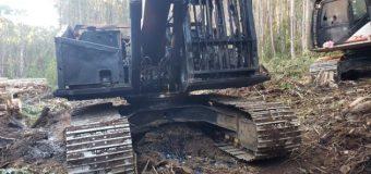 Sujetos quemaron maquinaria en predio forestal en Panguipulli