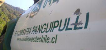 Carabineros detuvo a hombre que amenazó de muerte a su pareja con cuchillo en el cuello en Panguipulli