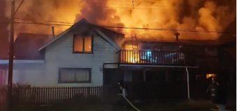 Incendio en Población Lolquellén dejó al menos 10 damnificados